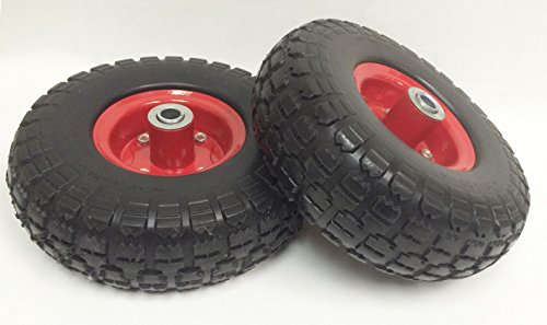 "2 New 10"" Flat Free Solid Tire Wheel for Dolly Handtruck Cart -27019"