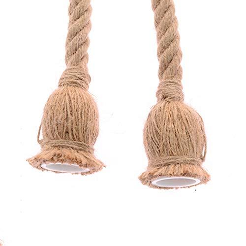 yyuezhi Lampadario Appeso Corda Decor Filo Elettrico in Lino E27 Supporto Della Lampada Del Basamento per Cucina Bar Ristorante Caffetteria Loft (Lampadina Non in Dotazione) 2 Pezzi