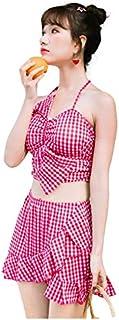 女性用2ピース水着、温泉ビキニ、ささやかな水着、フロントちょう結びLovly Girl、クラシックラティスプリントローズ