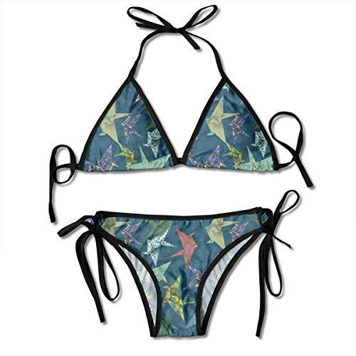 Washi Origami Cranes Lady Sexy Bikini Set Adjustable Beach Swimsuit Bathing Suit Fit Halterneck Swimwear 2 Piece