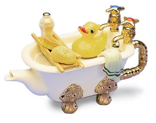 The Teapottery - Teiera in Ceramica Motivo Vasca da Bagno, 1 Tazza, 1 Pezzo, Colore: Bianco