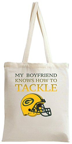 My Boyfriend Knows How To Tackle Funny Slogan Tote Bag