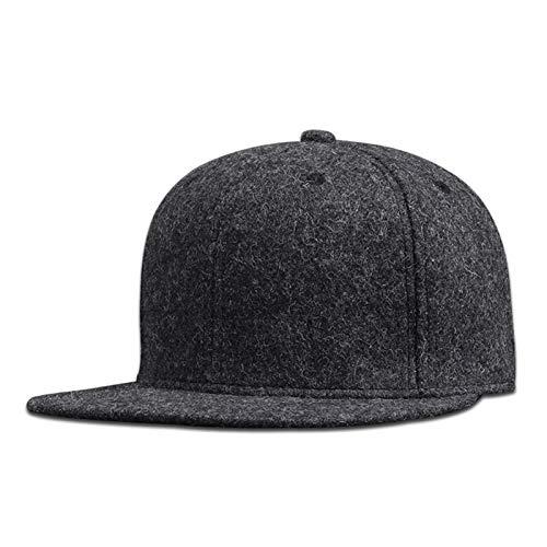 Hombre Plus Tamaño Ampliado Gorra de béisbol Tamaño Grande Hip Hop Hat Hat Back Cerrado de Gran tamaño Snapback Cap 56cm 58cm 60 cm 62cm 64cm (Color : Wool Felt Dark Gray, Size : 60cm)