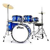 Tiger JDS14-BL Juego de batería junior de 5 piezas - Batería azul para niños, edades de 3 a 10 años