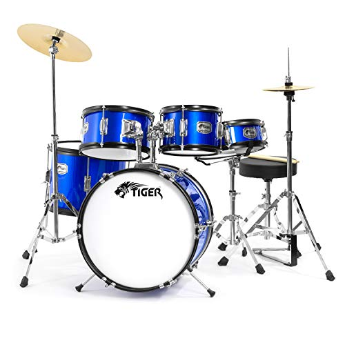 Tiger Junior Drum Kit 5 Piece in Blue for Kids - With Drum...