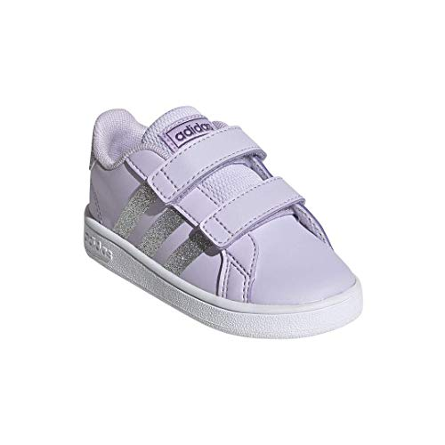 adidas Unisex-Kid's Grand Court I Sneaker, Purple Tint/Matte Silver/FTWR White, 3K M US Little Kid