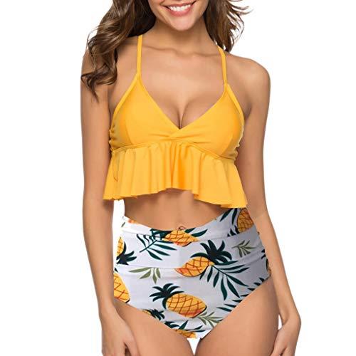 OIKAY Damen Bikini Set Hohe Taille Bademode Zweiteilige Strandkleidung Badeanzug mit Volant Neckholder Bikini Oberteil und Bikinihose