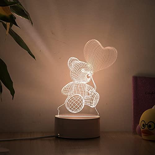 HWHZ Lámpara de Mesa Decorativa de la luz de la Noche de acrílico del Globo en Forma de corazón de la luz del Amor 3D 3D D
