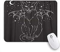 VAMIX マウスパッド 個性的 おしゃれ 柔軟 かわいい ゴム製裏面 ゲーミングマウスパッド PC ノートパソコン オフィス用 デスクマット 滑り止め 耐久性が良い おもしろいパターン (夜空の月の上の不気味な黒猫モンスターの翼)