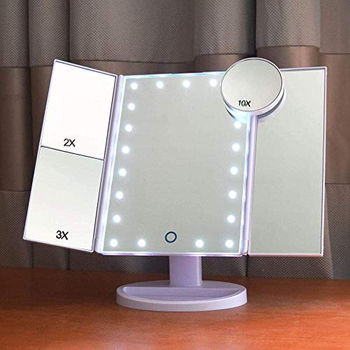 Draagbare tafelbladen Verstelbare make-upspiegel Verlichte tafelbladen Cosmetische spiegel-21 LED-lampjes Drievoudige spiegel-aanraakbediening Helderheid 1x 2x 3x 10x vergroting Led-spiegel Dubbele voeding (ZWART) -Zwart