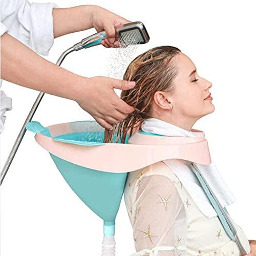 KKJKK Portable Bacs pour Shampooing Lavabo À Shampooing Plié Silicone Bol de Lavage de Cheveux avec Tube de Vidange pour Désactivé Femmes Enceintes Les Personnes Âgées et Enfant