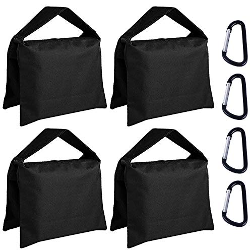 ABCCANOPY Super Heavy Duty Sandbag Saddlebag Design 4 Weight Bags for Photo Video Studio Stand,Backyard,Outdoor Patio,Sports (Black)