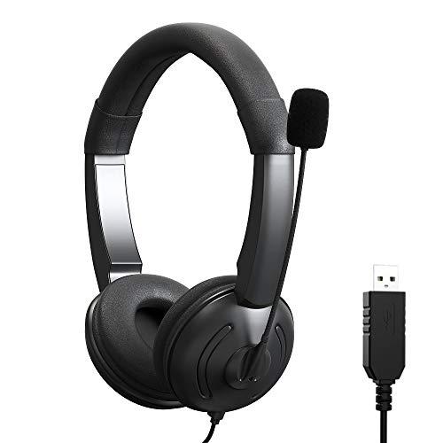 KKshop USB Auriculares con Microfono, Sonido Estéreo y Micrófono USB con Supresión de Ruido, PC Auriculares para Centro de Llamadas, oficinas, Llamadas de conferencias