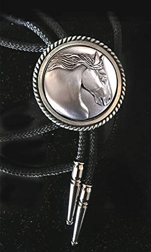 Gypsy Horse men's Bolo tie with sculptural horse head handmade in mirror polished pewter with silver tips, black or silver cord
