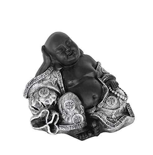 Sitzender Buddha für den Innen- und Außenbereich (frostfest), Statue als mediativer Ruhepunkt im Garten oder Raum, Steinfigur, Deko-Figur silber und schwarz