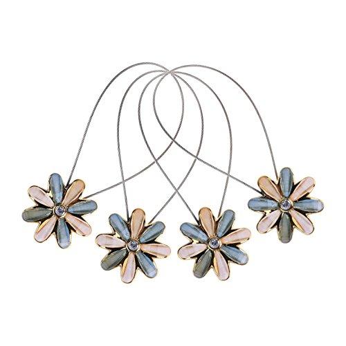 Cosmos 2 Pairs Magnetic Flower Curtain Clips Tiebacks Holdbacks (Light Blue)