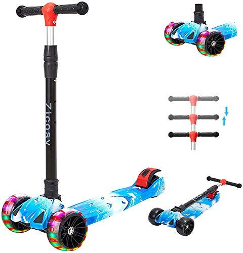 Youfen Kinder Roller Scooter - Kinderscooter für Mädchen und Jungen ab 2 Jahre, Premium Blinkenden LED Räder Kickscooter Dreiräder mit 3 Höhenverstellbare und Faltbar Lenker (Blau)