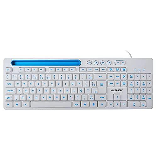 TECLADO MULTIMÍDIA OFFICE USB BRANCO COM APOIO PARA SMARTPHONE, Multilaser, TC263