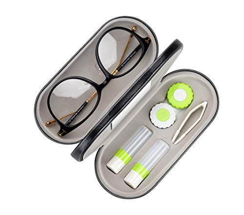 Muf 2 in 1 Double Sided Portable Contact Lens Case and Eyeglasses Case,Dual Use Design with Built-in Mirror,Tweezer and Contact Lens Solution Bottle Included for Travel Kit(Green)