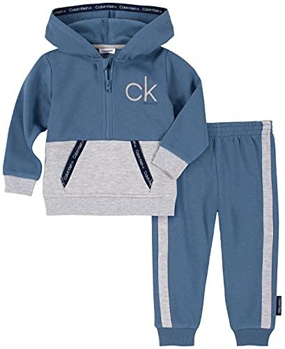 Calvin Klein Baby Boys' 2 Pieces Hooded Jog Set, Blue Horizon/Silver Grey Heather, 3-6 Months is $17.76 (64% off)
