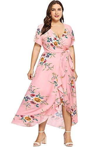 Milumia Plus Size Casual V Neck Belted Empire Waist Asymmetrical Maxi Dress Pink X-Large Plus