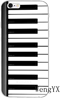 White Black Piano Pattern Galaxy S7 Edge Case Music Theme I Phone Cover Instrument Organ Classic Musical Italian Keyboards Orchestra Italy Cellphone Protector, Plastic