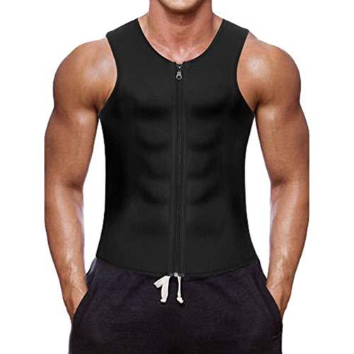 Baijiaye Herren Neopren-Schwitzweste/Sauna-Weste Zipper Weste für Gewichtsverlust Shapewear Abnehmen Shirt Workout Suit Schwarz XL