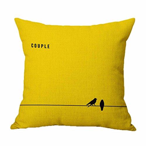 Vovotrade Kussensloop, 45 cm x 45 cm, knuffeldier in 5 kleuren, liefde letterprint, hoogwaardig geel, sofa, taille, kussensloop, onzichtbare ritssluiting, moderne stijl