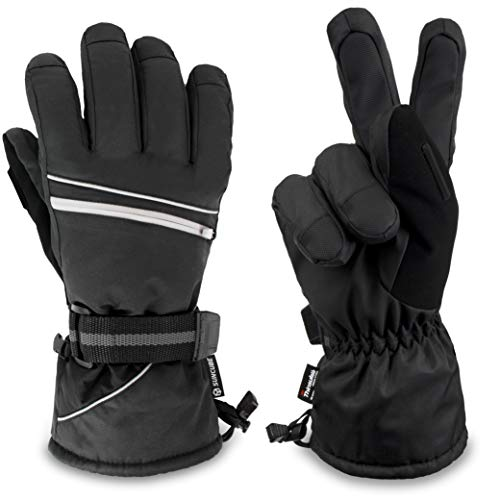 SUN CUBE Ski Gloves Men Women | Waterproof Breathable Snow Gloves | Windproof Winter Outdoor Snowboard Snowmobile Hiking Cycling | Warm Thermal Insulation 3M Thinsulate Zipper Pocket (Black, Medium)