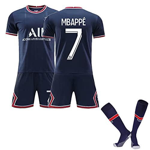 NPZBMGB Uniforme De Fútbol, Camiseta De La Primera Equipación De Mbappé, Ropa De Entrenamiento, Camiseta, Pantalones Cortos, Calcetines, Conjunto De 3 Piezas,A,XL
