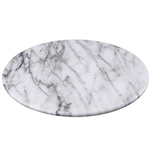 Creative Home 32737 – Tabla redonda para servir, piedra de mármol natural, Blanco crudo, 12″ Diam. x 1″…