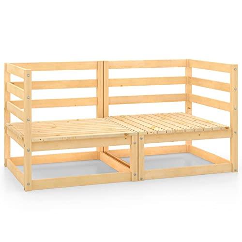 Susany Sofás de Esquina de jardín 2 uds Madera Maciza de Pino Muebles de Jardín Conjunto de Jardín Muebles Terraza Exterior Conjuntos Sofa Exterior