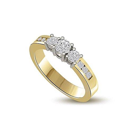 1.00ct F/VS1 Diamante Trilogy Anello da Donna con Rotonda Brillante diamanti in 18kt Oro Bianco e Giallo