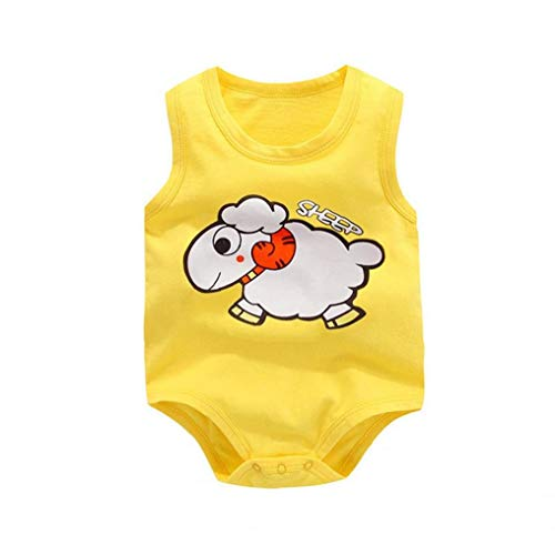 LAANCOO Chaleco del bebé Mono del Mameluco sin Mangas de la Ropa de la Historieta para recién Nacidos Niña Niño Amarillo 80cm ovejas por un Interior de Primavera y Verano Ropa