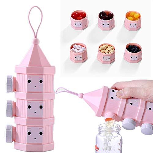 MUUZONING Stapelbare Milchpulver Spender, Tragbar Kinder Milchpulver Portionierer Box Kann 3-Schicht, BPA-freien Luftdichte Lebensmittelvorratsbehälter für Reise im Freien (Pink) #007.