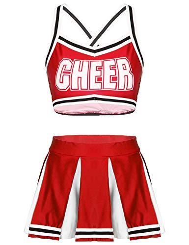 renvena Dame Cheerleading Kostüm Mädchen Cheer Leader Kleid Uniform Bauchfrei Oberteil mit Faltenrock Cosplay Halloween Fasching Verkleidung Rot M