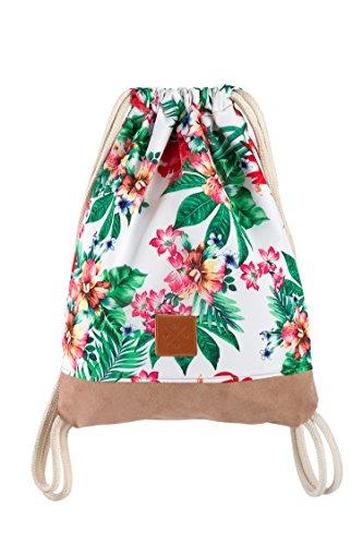 Manufaktur13 Palm Springs Sports Bag - Rucksack Gym Bag mit Blumen/Flower Print, Turnbeutel Sportbeutel Tasche