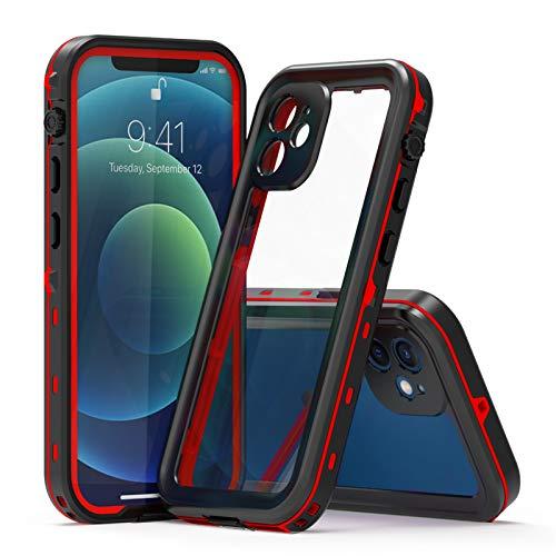 Funda para iPhone 12 Pro Max, IP68 Waterproof Outdoor Delgado Cover 360-Grados Protectora Antigolpes Anti-rasguños Impermeable Antichoque Funda para iPhone12/12 Mini/12 Pro/12 Pro Max,Red,iPhone12Mini