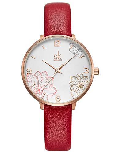 Alienwork Damen-Armbanduhr Quarz Rose-Gold mit Lederarmband rot Weiss elegant
