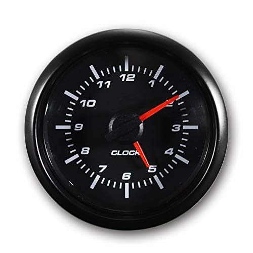 "MOTOR METER RACING Clock Gauge 2"" White LED Backlit Waterproof Pin-Style Install"