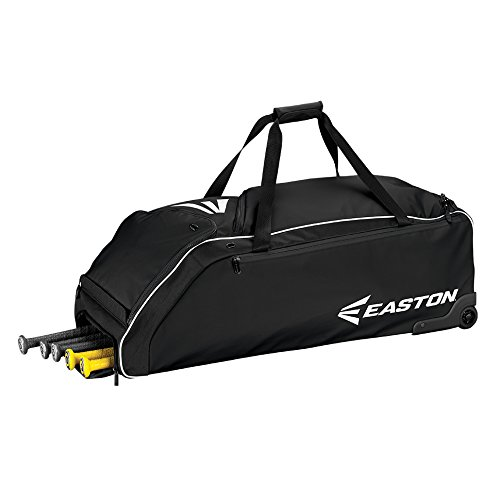 EASTON E610W Bat & Equipment Wheeled Bag | Baseball Softball | 2020 | Black | 4 Bat Compartment | Vented Pockets - Minimize Odor & Quick Dry | Removable Shoe Pocket | Lockable Pockets | Fence Hook