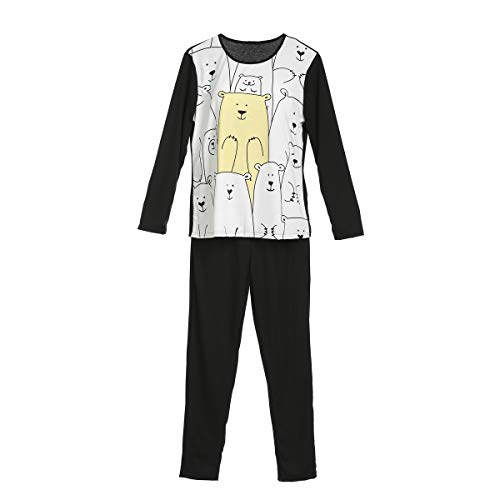 Familie pyjama Sets, 2 Stks Beer Gedrukt Lange Mouw T-Shirt+ Effen Kleur Broek Familie Bijpassende Slaapmode Papa/Mam/Kids PJ's