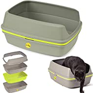 Cat Grey Scoopless Litter Tray Large or Jumbo Sifting Toilet Box High Sided XL (Large Tray)