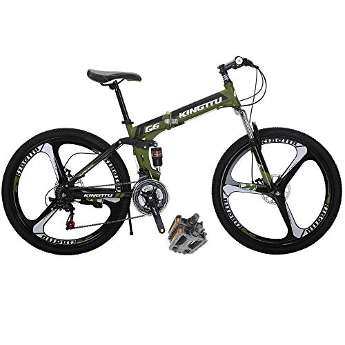 Folding Bikes HYG6 26 Inch 3 Spoke Wheels 21 Speed Mountain Bike Dual Suspension Bicycle Green