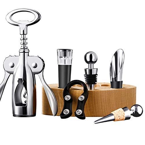 YUN&DSC Wine Connoisseur Tools Set de regalo - 5 piezas de acero inoxidable Accesorios Kit Regalos para Sommelier (Color: Madera Color)