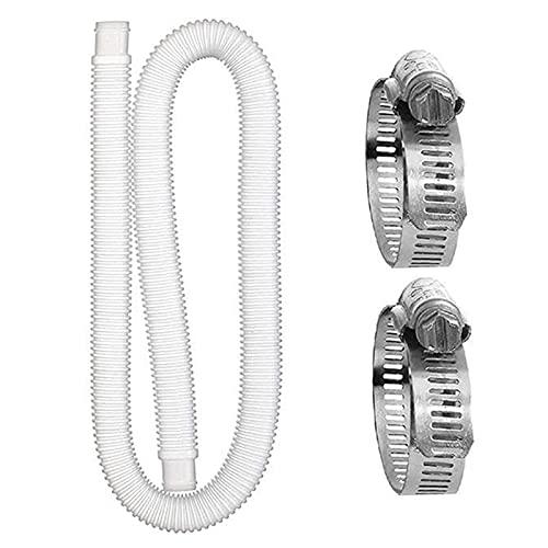 Cdemiy Tubi per Piscina, Tubo di Sostituzione della Piscina, con 2 Connettori in Metallo, per Tubo di Ricambio Pompa Filtro per Piscine Fuori Terra