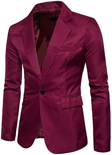 Men's Long Sleeves Peak Lapel Collar One Button Slim Fit Sport Coat Blazer, Wine Red, L/42 = Tag 3XL
