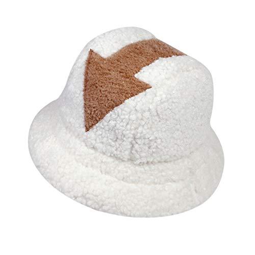 DRUN Appa Hat, Appa Eimer Hut Flauschige Lämmer Wollpfeil Symbol Gedruckter Eimer Hut Männer Frauen Flut Flat Top Hüte (1)