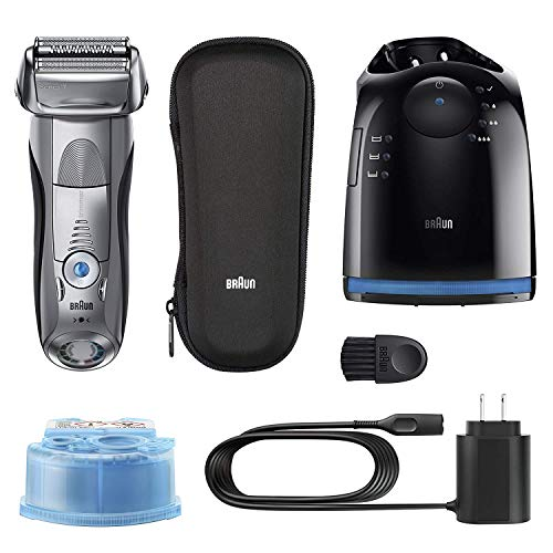 Braun Series 7 790cc Electric Razor for Men, Rechargeable and Cordless Electric Shaver, Foil Shaver, Silver, with Clean&Charge Station and Travel Case