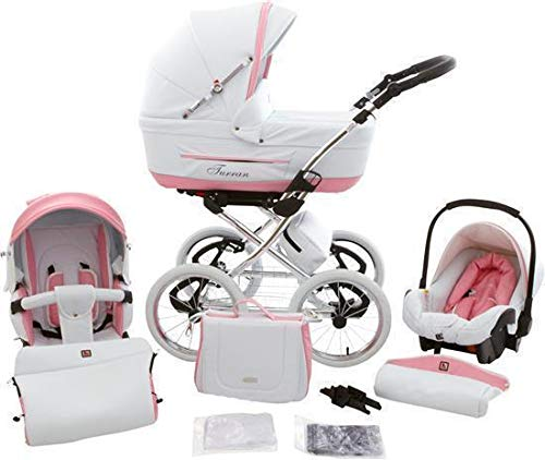 Retro Pram Stroller 3 in1 Buggy Isofix Choice Classic One Plus by ChillyKids White & Rose Leather Decor 3in1 with Baby seat